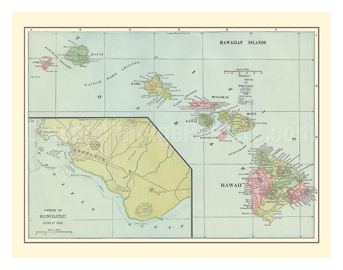 Art Prints Amp Posters Hawaiian Islands Map Sandwich
