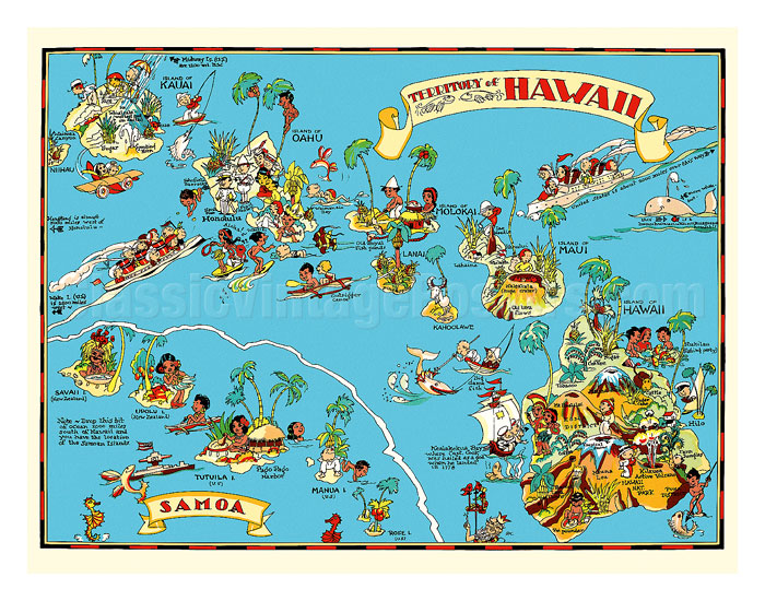 Art Prints Posters Map Of The Territory Of Hawaii American
