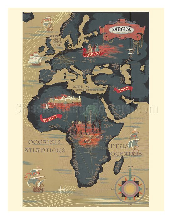 Map Of Africa 1950.Art Prints Posters World Route Map Africa Europe Asia