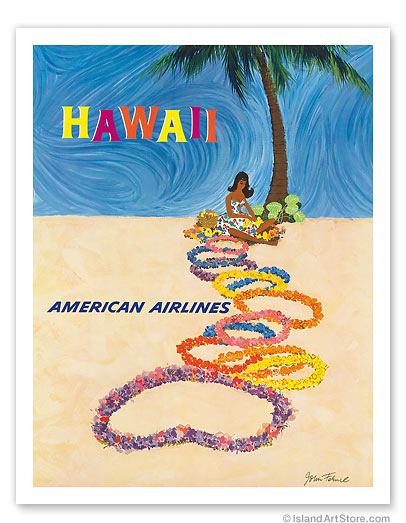 American Airlines: Hawaii - The Lei Maker - Giclée Art Prints & Posters