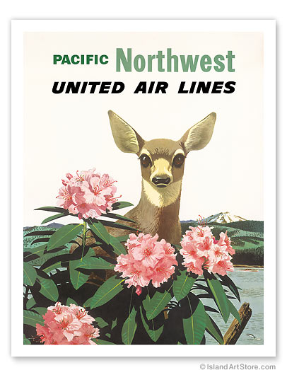 United Air Lines: Pacific Northwest - Giclée Art Prints & Posters