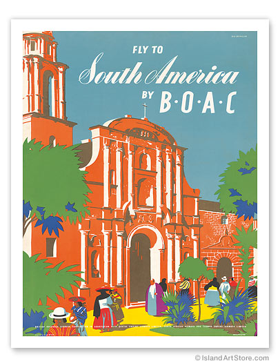 British Overseas Airways Corporation: Fly to South America by BOAC - Giclée Art Prints & Posters