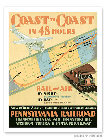 Pennsylvania Railroad: Coast to Coast in 48 Hours - Giclée Art Prints & Posters