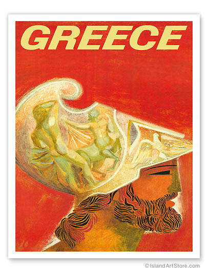 Trans World Airlines: Greece - Fly TWA Jets, Ancient Greek Helmet - Giclée Art Prints & Posters