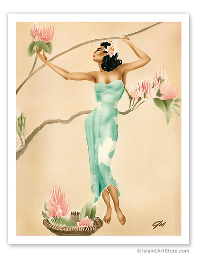 Magnolia, Hawaiian Woman with Flowers - Giclée Art Prints & Posters
