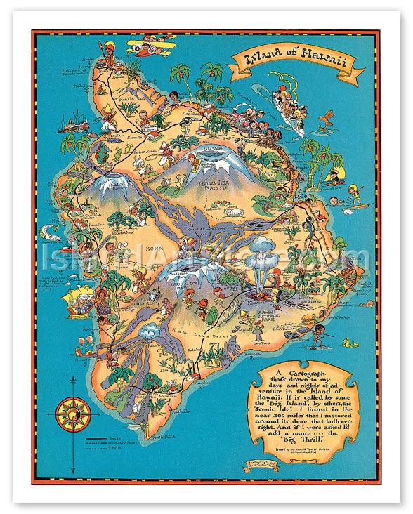 Fine Art Prints & Posters - Hawaiian Island of Hawaii (Big Island) Map - Vintage Colored ...