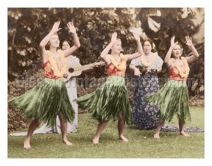 Hula Dancers, Hawaii, C. 1940's