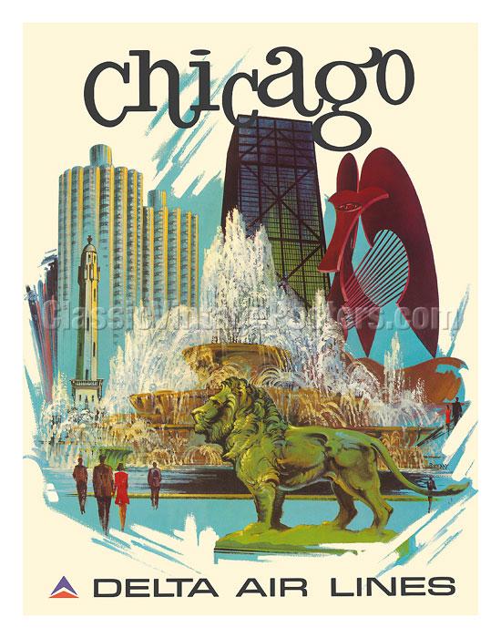 Buckingham Fountain Chicago Vintage Art Print POSTER