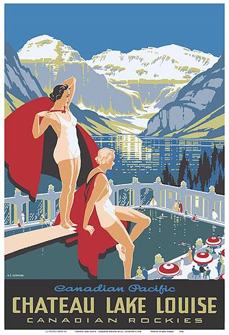 Jasper Park Lodge Canada Vintage Railways Travel Advertisement Art Poster Print
