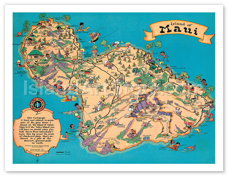 Fine art prints posters hawaiian island of maui vintage 11 x 14 gicle art print thecheapjerseys Image collections