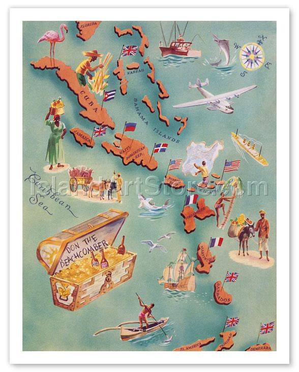 Fine Art Prints Posters Map Of Caribbean Islands Bahama - Map of the caribbean islands