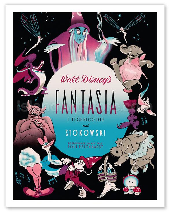 Fine Art Prints Posters Walt Disney S Fantasia Featuring Mickey Mouse Music By Leopold Stokowski Danish Version Giclee Art Prints Posters Islandartstore Com