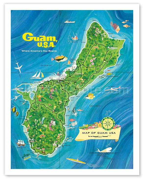 Fine Art Prints & Posters - Map of Guam, USA - Where America\'s Day ...