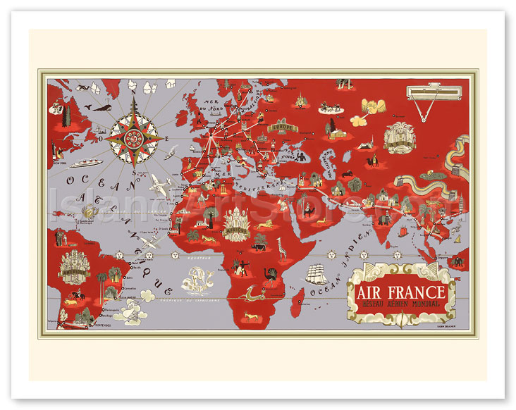 Fine Art Prints & Posters - Planisphere World Route Map - Air France ...