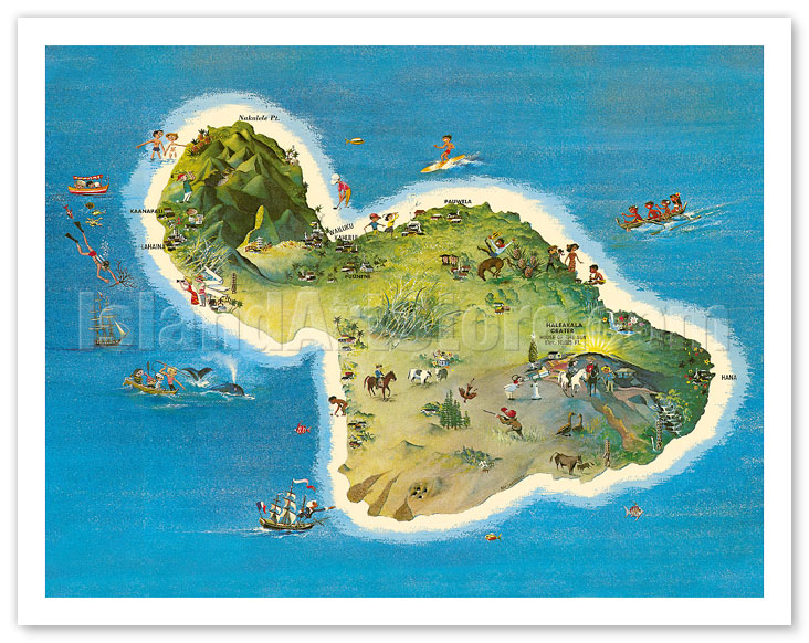 photo relating to Printable Map of Maui called Fantastic Artwork Prints Posters - The Island of Maui Hawaii