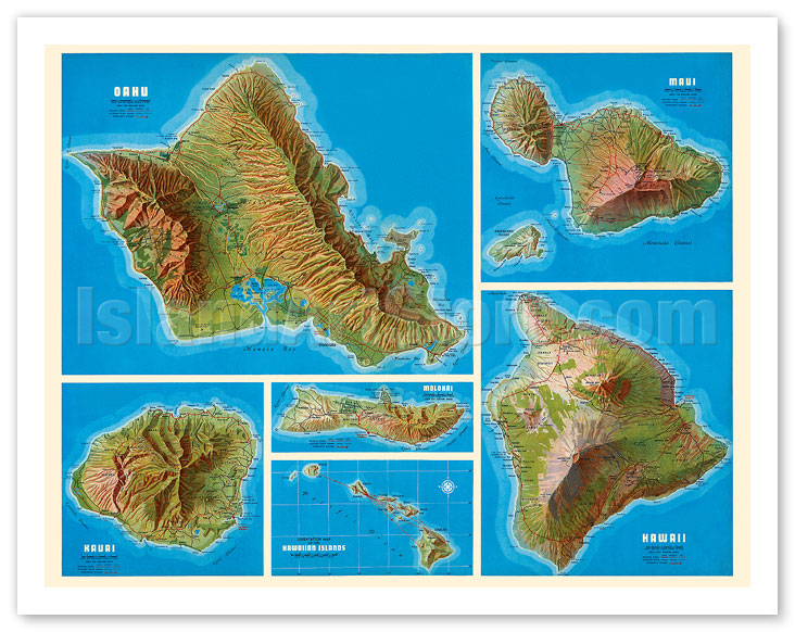 graphic regarding Printable Map of Hawaiian Islands known as Great Artwork Prints Posters - Map of Hawaiian Islands - Oahu