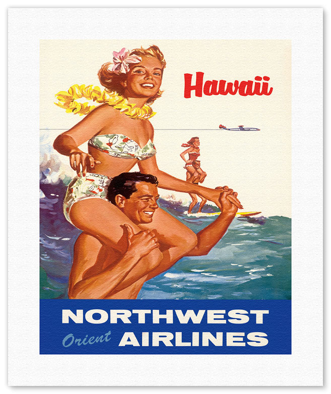 Hawaii - Northwest Orient Airlines - Hawaiian Tandem Surfing. Vintage Hawaiian Travel Poster