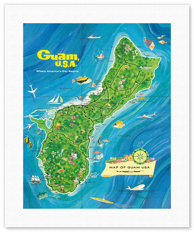 Fine Art Prints Posters Map Of Guam USA Where Americas Day - Map of guam