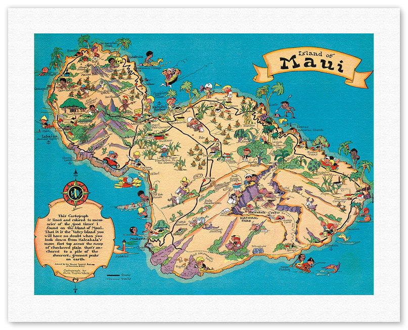 Hawaiian Fine Art Giclee Prints and Posters Antique Maps Hawaii – Tourist Map Of Maui