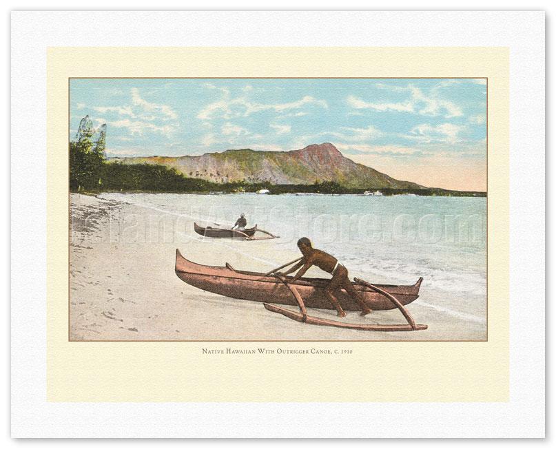 Hawaiian Fisherman Net Paradise Outrigger Canoe Vintage Art Poster Print