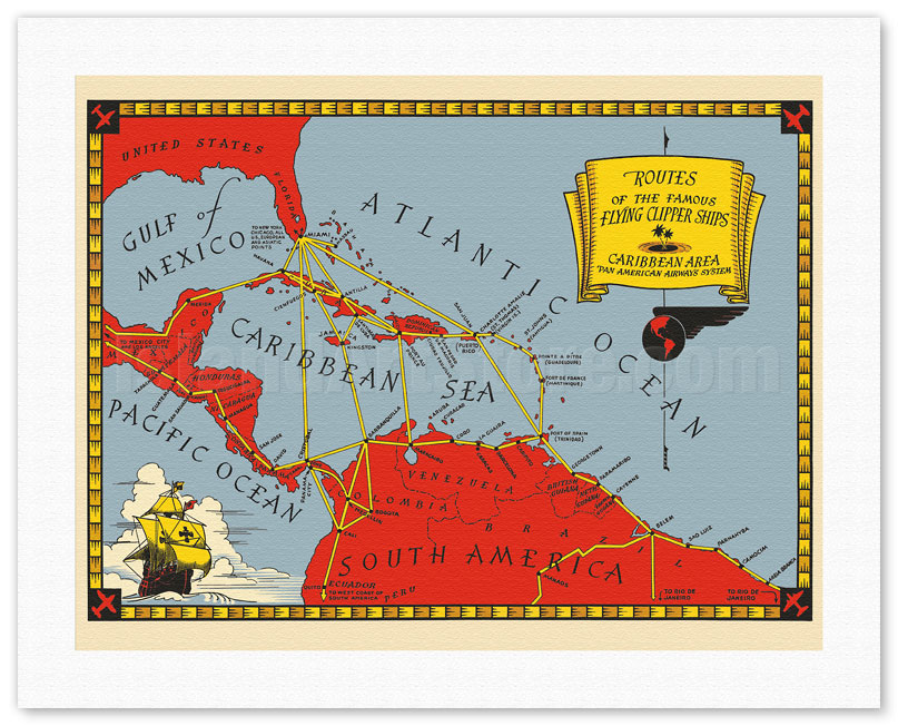routes of the famous flying clipper ships caribbean area map pan american airways system c 1930