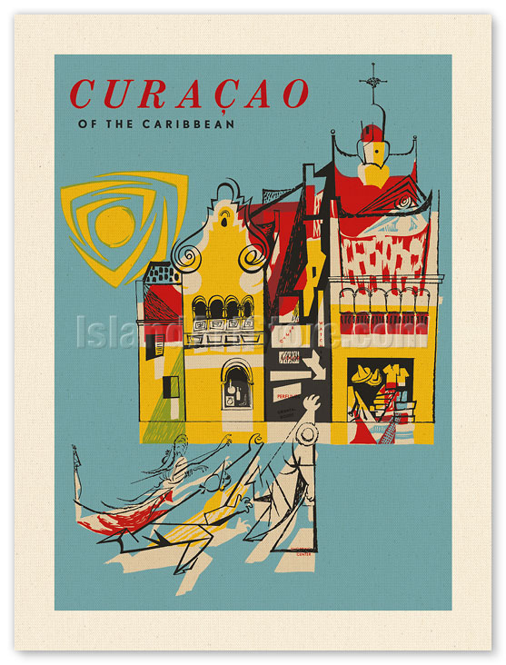 CARIBBEAN CURACAO CANVAS WALL ART PICTURE L693 MATAGA UNFRAMED-ROLLED