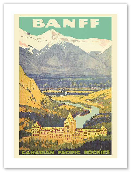 "Canada Air Pacific Banff Vintage Rockies Travel Poster art Print painting 36/"""