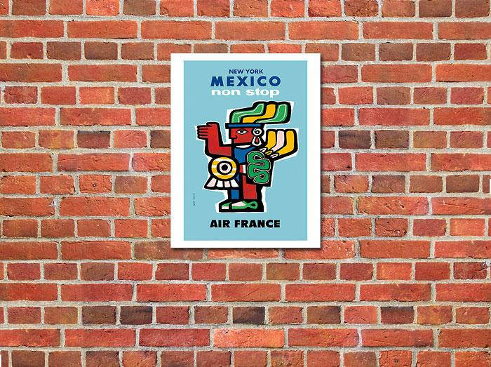 New York Mexico Aztec Art Vintage Airline Travel Art Poster Print