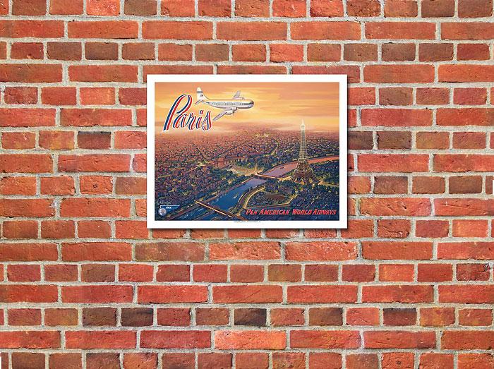 Paris France Pan Am Eiffel Tower Kerne Erickson Airline Poster Fine Art Print
