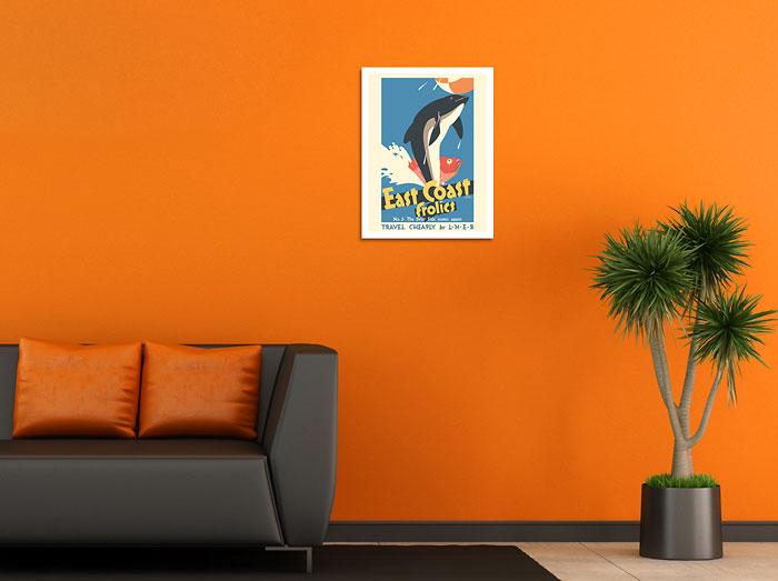 East Coast Frolics Dolphin Fish LNER 1933 Vintage Travel Poster Metal Tin Sign